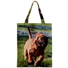 Bloodhound Running Zipper Classic Tote Bag