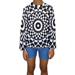 Checkered Black White Tile Mosaic Pattern Kids  Long Sleeve Swimwear