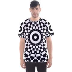 Checkered Black White Tile Mosaic Pattern Men s Sport Mesh Tee