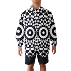 Checkered Black White Tile Mosaic Pattern Wind Breaker (Kids)