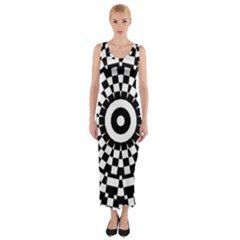 Checkered Black White Tile Mosaic Pattern Fitted Maxi Dress