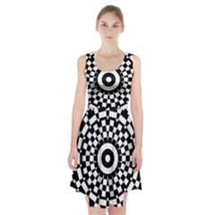 Checkered Black White Tile Mosaic Pattern Racerback Midi Dress