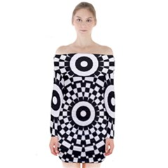 Checkered Black White Tile Mosaic Pattern Long Sleeve Off Shoulder Dress