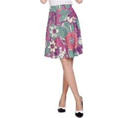 Seamless Floral Pattern Background A-Line Skirt