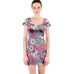 Seamless Floral Pattern Background Short Sleeve Bodycon Dress