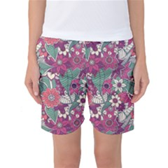 Seamless Floral Pattern Background Women s Basketball Shorts
