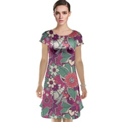 Seamless Floral Pattern Background Cap Sleeve Nightdress
