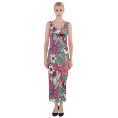 Seamless Floral Pattern Background Fitted Maxi Dress