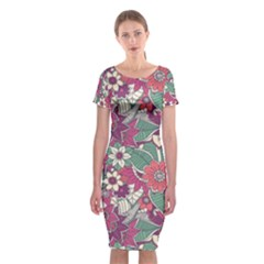 Seamless Floral Pattern Background Classic Short Sleeve Midi Dress