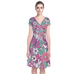 Seamless Floral Pattern Background Short Sleeve Front Wrap Dress