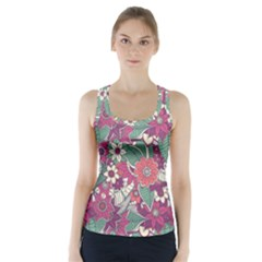 Seamless Floral Pattern Background Racer Back Sports Top