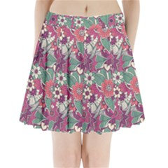 Seamless Floral Pattern Background Pleated Mini Skirt