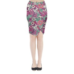 Seamless Floral Pattern Background Midi Wrap Pencil Skirt