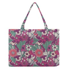 Seamless Floral Pattern Background Medium Zipper Tote Bag