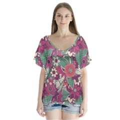 Seamless Floral Pattern Background Flutter Sleeve Top