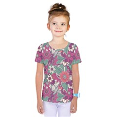Seamless Floral Pattern Background Kids  One Piece Tee