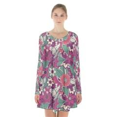 Seamless Floral Pattern Background Long Sleeve Velvet V Neck Dress