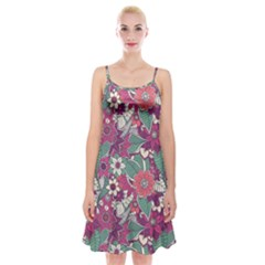 Seamless Floral Pattern Background Spaghetti Strap Velvet Dress