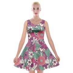 Seamless Floral Pattern Background Velvet Skater Dress