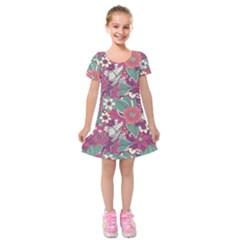 Seamless Floral Pattern Background Kids  Short Sleeve Velvet Dress