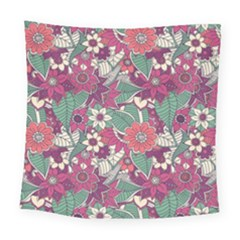 Seamless Floral Pattern Background Square Tapestry (large)