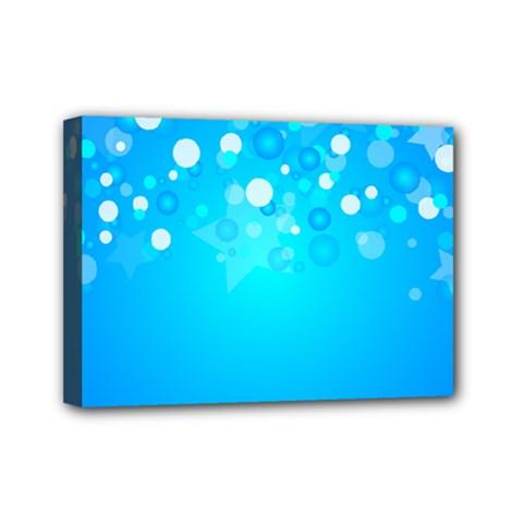 Blue Dot Star Mini Canvas 7  x 5