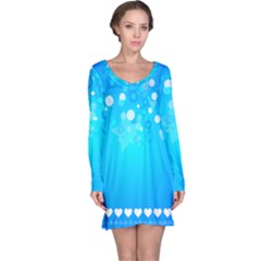 Blue Dot Star Long Sleeve Nightdress