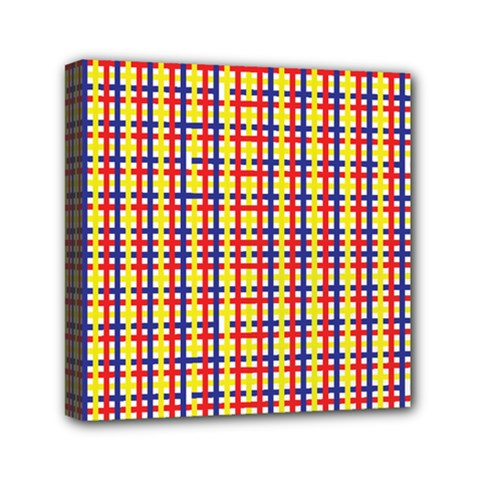 Yellow Blue Red Lines Color Pattern Mini Canvas 6  x 6