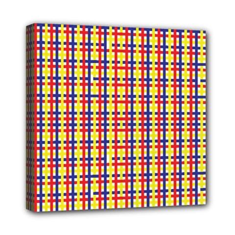 Yellow Blue Red Lines Color Pattern Mini Canvas 8  x 8