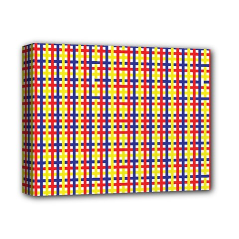 Yellow Blue Red Lines Color Pattern Deluxe Canvas 14  x 11