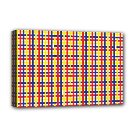 Yellow Blue Red Lines Color Pattern Deluxe Canvas 18  x 12