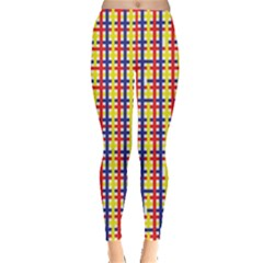 Yellow Blue Red Lines Color Pattern Leggings