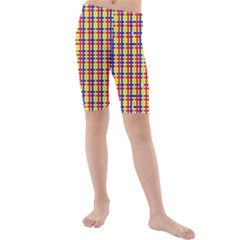 Yellow Blue Red Lines Color Pattern Kids  Mid Length Swim Shorts