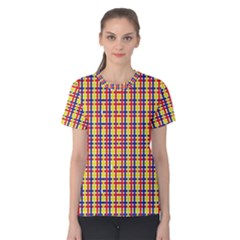 Yellow Blue Red Lines Color Pattern Women s Cotton Tee