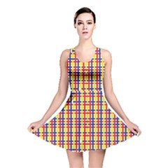 Yellow Blue Red Lines Color Pattern Reversible Skater Dress