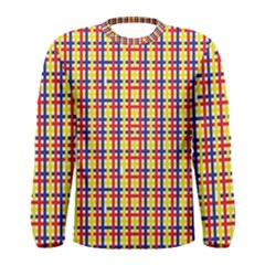 Yellow Blue Red Lines Color Pattern Men s Long Sleeve Tee