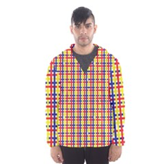Yellow Blue Red Lines Color Pattern Hooded Wind Breaker (men)