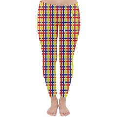 Yellow Blue Red Lines Color Pattern Classic Winter Leggings