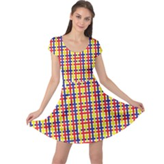 Yellow Blue Red Lines Color Pattern Cap Sleeve Dresses