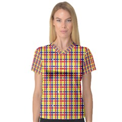 Yellow Blue Red Lines Color Pattern Women s V-Neck Sport Mesh Tee