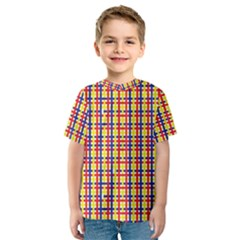 Yellow Blue Red Lines Color Pattern Kids  Sport Mesh Tee