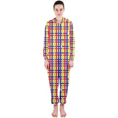 Yellow Blue Red Lines Color Pattern Hooded Jumpsuit (Ladies)