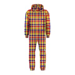 Yellow Blue Red Lines Color Pattern Hooded Jumpsuit (Kids)