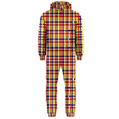 Yellow Blue Red Lines Color Pattern Hooded Jumpsuit (Men)