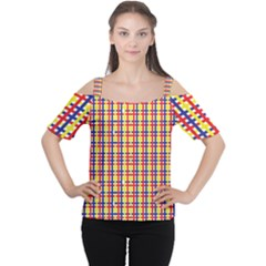 Yellow Blue Red Lines Color Pattern Women s Cutout Shoulder Tee