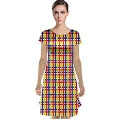 Yellow Blue Red Lines Color Pattern Cap Sleeve Nightdress