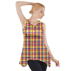 Yellow Blue Red Lines Color Pattern Side Drop Tank Tunic