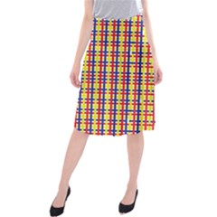 Yellow Blue Red Lines Color Pattern Midi Beach Skirt