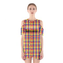 Yellow Blue Red Lines Color Pattern Shoulder Cutout One Piece