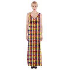 Yellow Blue Red Lines Color Pattern Maxi Thigh Split Dress